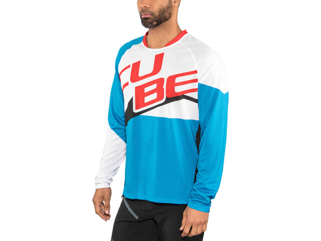Cube Action Pilot Maillot manches longues à col rond Homme, white'n'blue'n'red